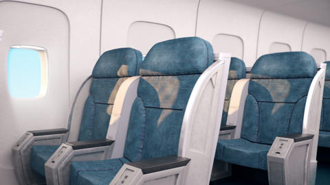 Aircraft indoor cabin with portholes and chairs seats without passangers Animation