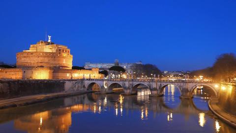 Sant'Angelo, Evening, Bridge over the Tiber, Rome. Italy Footage