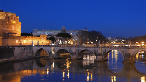 Castle Sant'Angelo, Twilight, Rome. Italy Footage