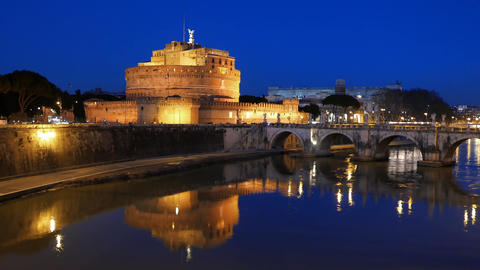 Castle Sant'Angelo, Reflection in the Tiber, Rome. Italy Footage