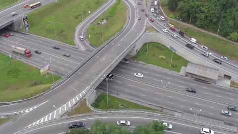 Busy road junction view from above, traffic jam, rush hour Footage