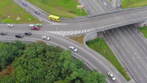 Car traffic busy city highway, peak hour view from above Footage