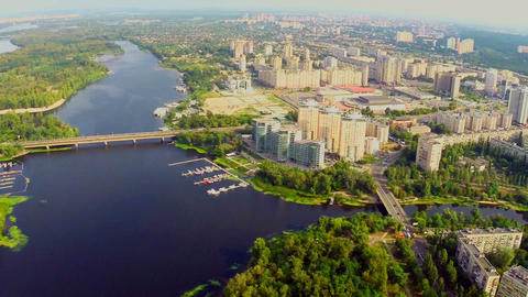 Magnificent panorama of large city, river and buildings aerial Footage