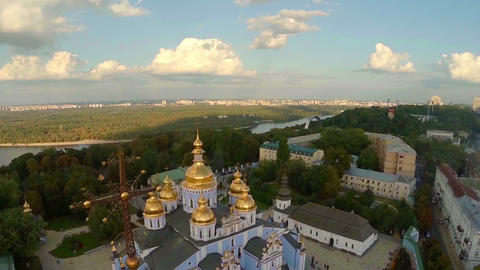 Golden domes of cathedral, beautiful cityscape, view from above Footage