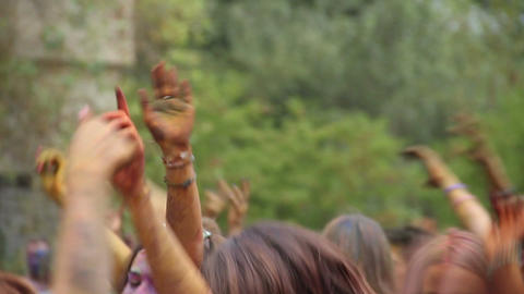 Crowd throwing hands up in air at festival, enjoying party Live Action