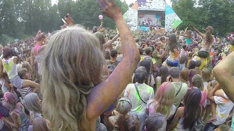 Crowd waving hands at concert, open air festival slow motion Live Action