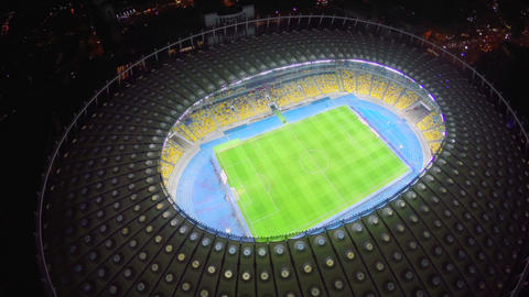 Large football arena from a bird's eye view, stadium, sports Footage