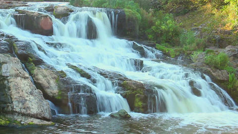 Time lapse of beautiful waterfall in forest, natural landmark Footage
