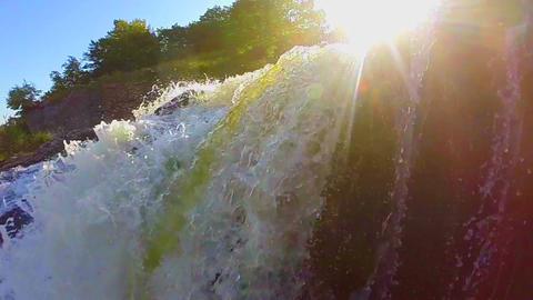 Beautiful waterfall landscape, sunshine, wild nature, slow-mo Footage