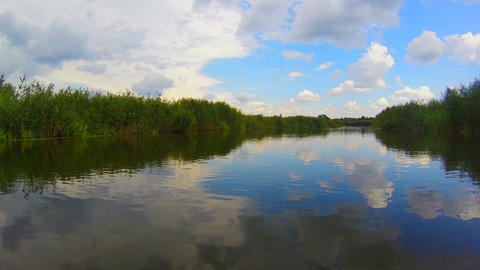 Wide river scenery, countryside, boating, active rest, traveling Footage