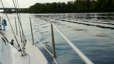 Sailing on wide river, yachting. Active rest, outdoor activities Live Action