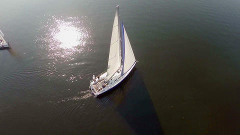 Aerial view magnificent yacht at sunset, white sails, adventures Footage