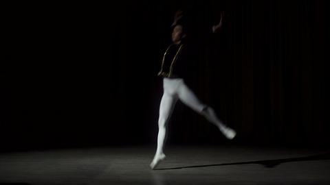 Ballet Dancer Posing On Stage Footage