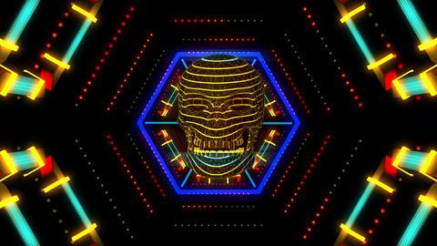 Acid Skull 4K 03 Vj Loop Animation