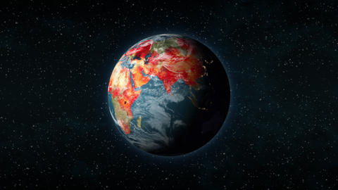 Planet Earth with red blotches spreading globally, virus outbreak pandemic Animation