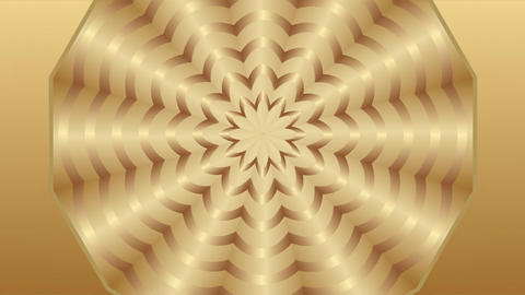 Golden patterned circle disc in tunnel motion, elegant luxurious background Animation