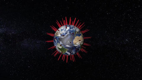 Pandemic - planet Earth infected with a virus - loop animation Animation