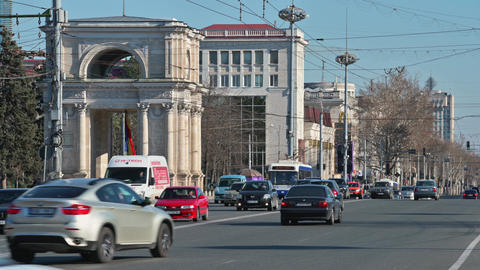 Daytime transport traffic at The Great National Assembly Square in Chisinau Live Action