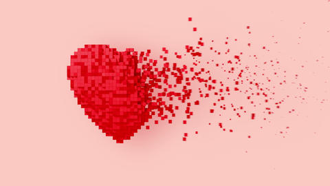 Disintegration Of Red Digital Heart On Pink Background GIF