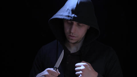 Criminal in the hood with knife Live Action