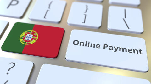 Online Payment text and flag of Portugal on the keyboard. Modern finance related Live Action