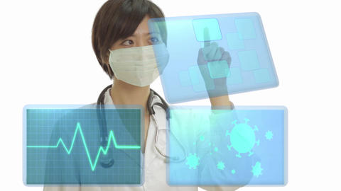 Female doctor using virtual screen with ekg and coronavirus cells on other monitors Live影片