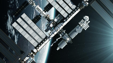 Flight Of International Space Station On Background Of Planet Earth GIF
