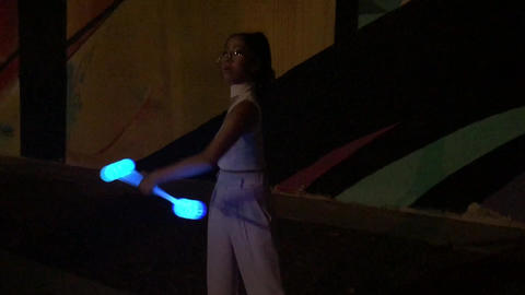 Female Asian LED Dancer Baton Twirler Live Action