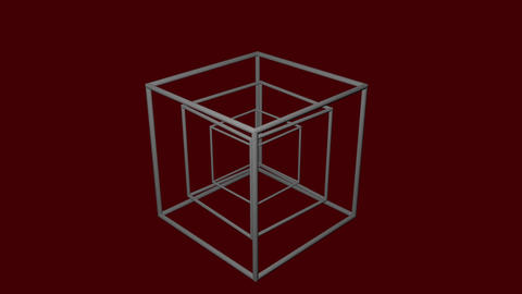 Metallic logotype composed of wireframe cubes rotating in different directions Animation