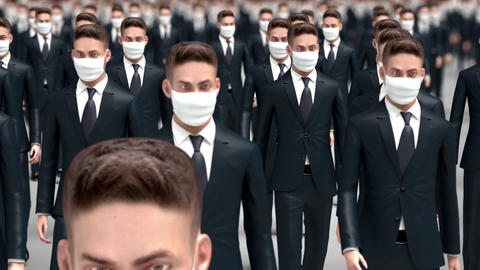 Crowd of People in Protective Medical Masks Animation