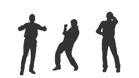 Silhouettes of male rock fans dancing, alpha channel Footage