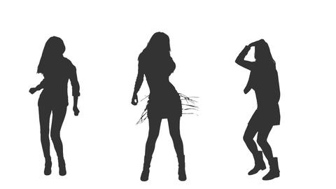 Three dancing girls in silhouettes, Full HD shot with alpha channel Footage
