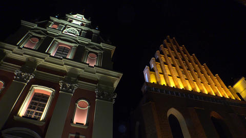 Catholic churches St. Johns Archcathedral and Jesuits in Warsaw. Poland. Night.  Footage