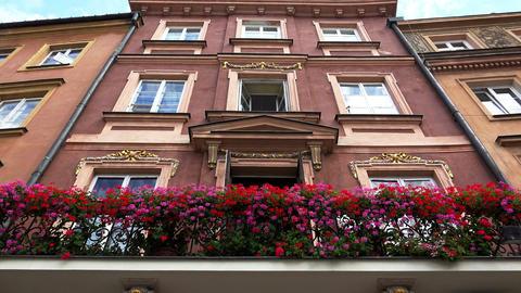Balcony with flowers in Warsaw. Poland. 4K Footage