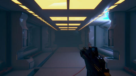 First person 3D mock up animation of sci fi space shooter Live Action