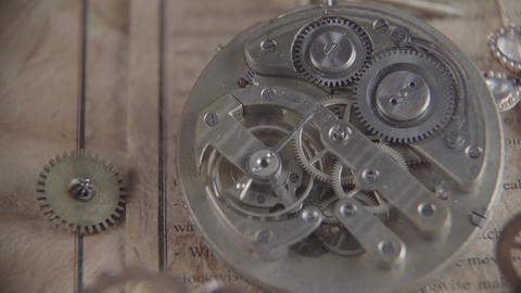 Macro shot of an antique vintage tick-tock mechanism in motion Live Action