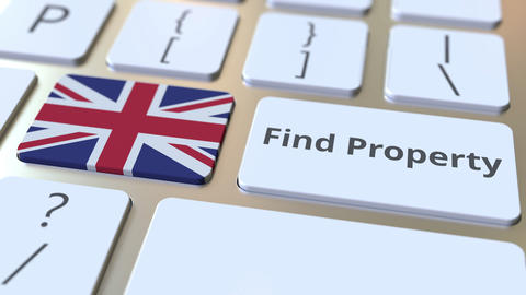 Find Property text and flag of Great Britain on the keyboard. Online real estate Live Action