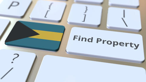 Find Property text and flag of the Bahamas on the keyboard. Online real estate Live Action