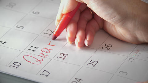 Write quarantine to the calendar with red felt-tip pen Live Action