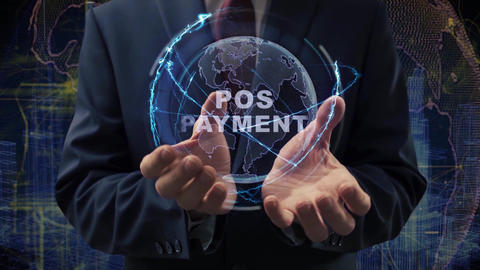 Male hands activate hologram POS Payment Live Action