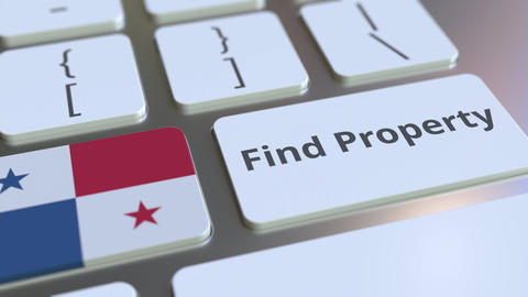 Find Property text and flag of Panama on the keyboard. Online real estate Live Action