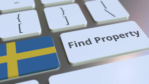 Find Property text and flag of Sweden on the keyboard. Online real estate Live Action