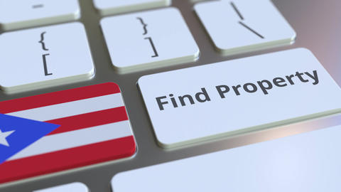 Find Property text and flag of Puerto Rico on the keyboard. Online real estate Live Action