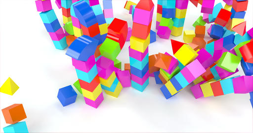 Toy house out blocks. Preschool, childhood. Home destroyed Live Action
