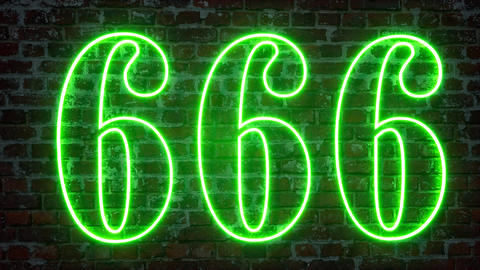 Number 666 on a brick wall Graphic element. Art design Live Action
