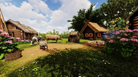 Village courtyard and animals Animation