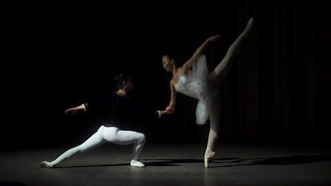 Two Young Ballet Dancers Practicing Footage