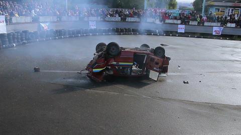 Car jumps into air, dangerous stunt, explosion sound. Part1of2 Live Action