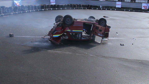 Driving accident, crash, car flips over and lands on roof Footage