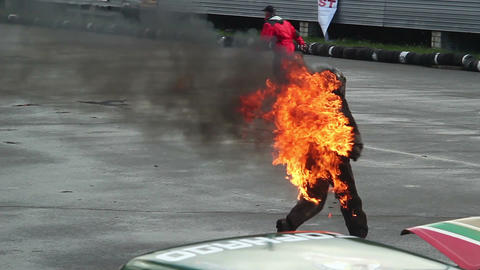 Stuntman escapes burning car, risky fire stunt. Part1of3 Live Action